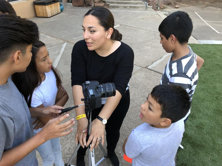 Camp coordinator Astrid Villagran leads kids in the basics of moviemaking. Image by Jaime Joyce for TIME Edge. California, 2018.