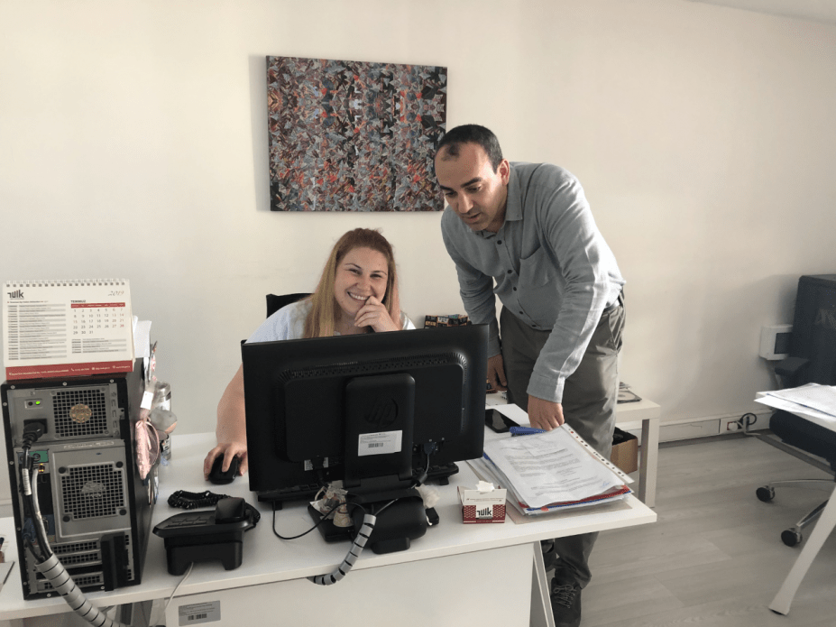 Fatih Cekic and Ayse Ozturk at the Turkish Statistical Institute. Image by Shirin Alhroob. Turkey, 2019.