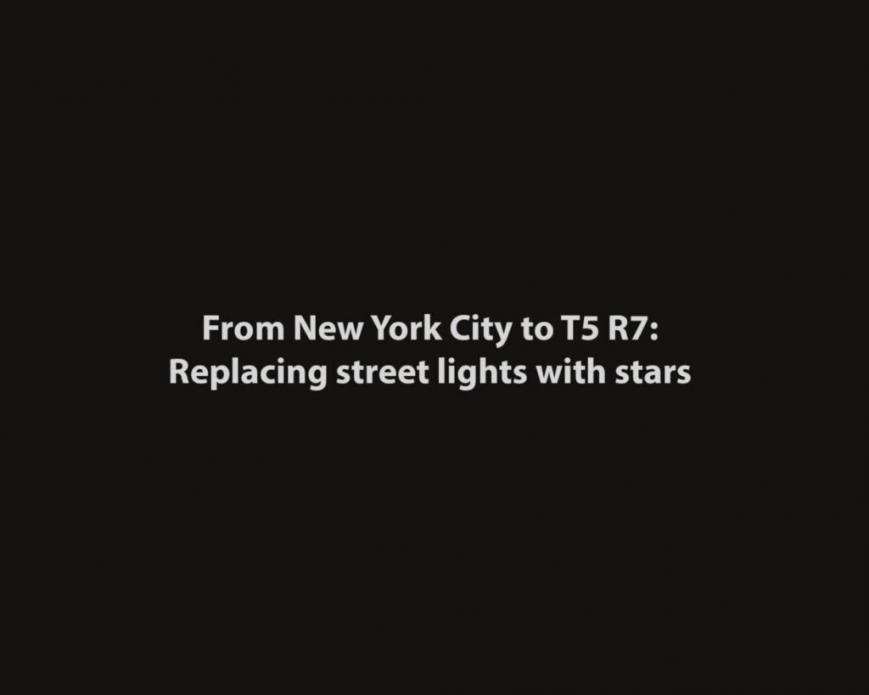 From New York City to T5R7: Replacing street lights with stars