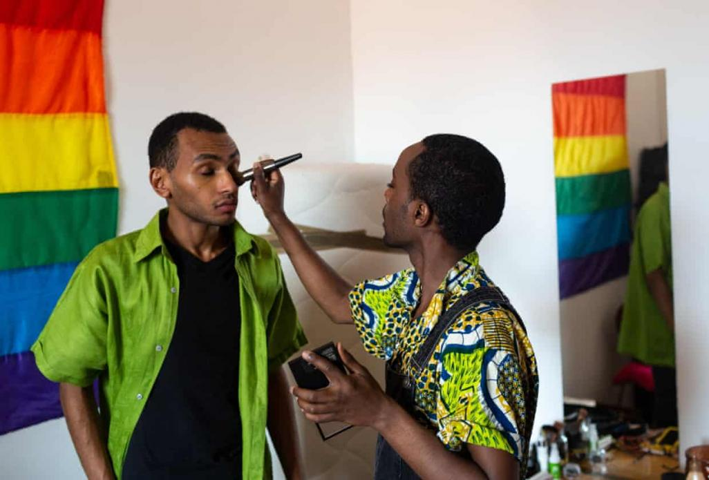 Faris, 35, from Addis Ababa, Ethiopia, identifies as non-binary and now lives in Austria, where they were granted political asylum. Faris works at 'Queer Base' in Vienna's gay-friendly district. Image by Bradley Secker. Austria, 2020.
