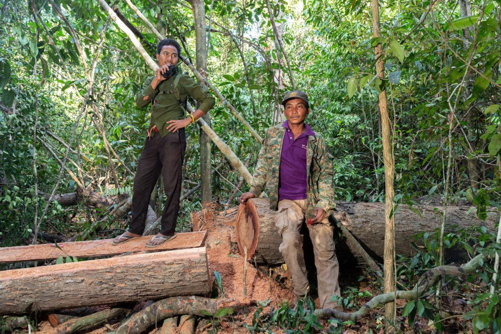 Members of the Prey Lang Community Rangers monitoring illegal logging. Prey Lang is one of Asia's last remaining lowland evergreen woodlands. Image by Sean Gallagher. Cambodia, 2020.<br />
