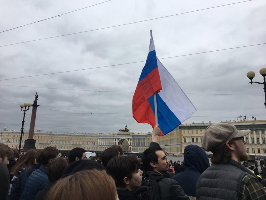 Protesters took to the streets prior to Vladimir Putin's fourth inauguration St. Petersburg. Image by Amy Martin. Russia, 2018.