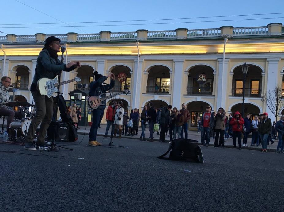 Musicians performing in the street in St. Petersburg. Image by Amy Martin. Russia, 2018.