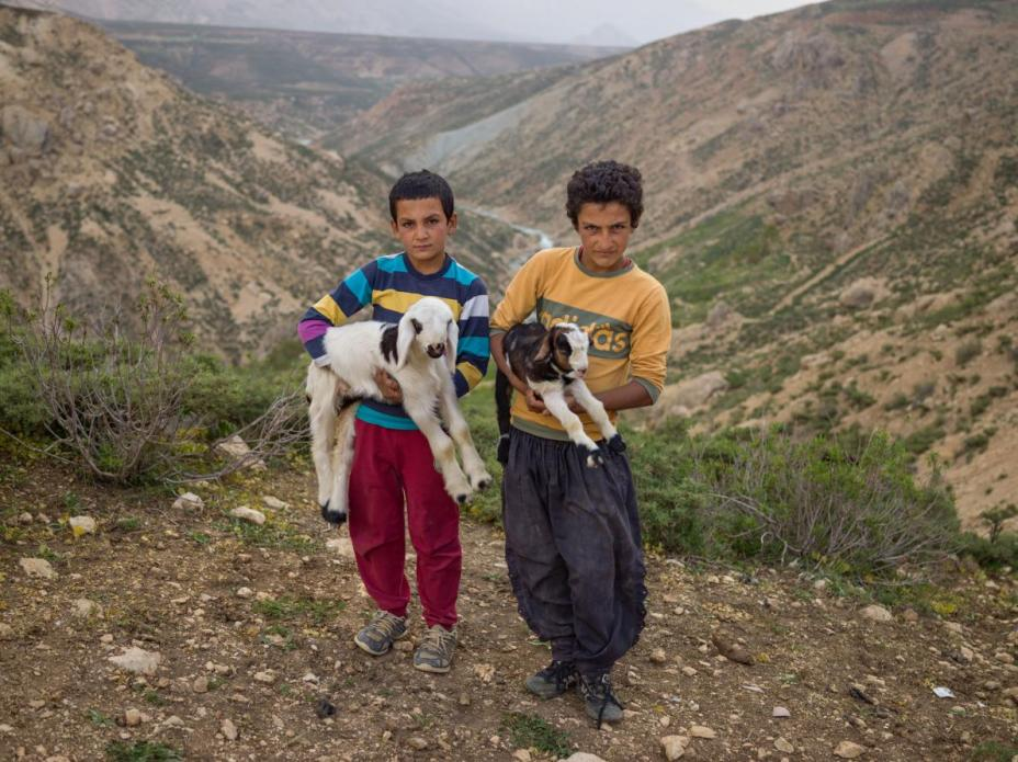 Esmaiel Karimi (left), 12, and his brother Gholamreza, 14, hold baby goats on Zard Mountain, Chahar Mahal and Bakhtiari Province, where they live in the summer. Image by Newsha Tavakolian. Iran, 2018.