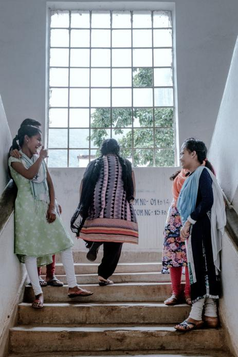 A moment with friends inside the girls' hostel where Purnima lives. Image by Arko Datto. India, 2018.