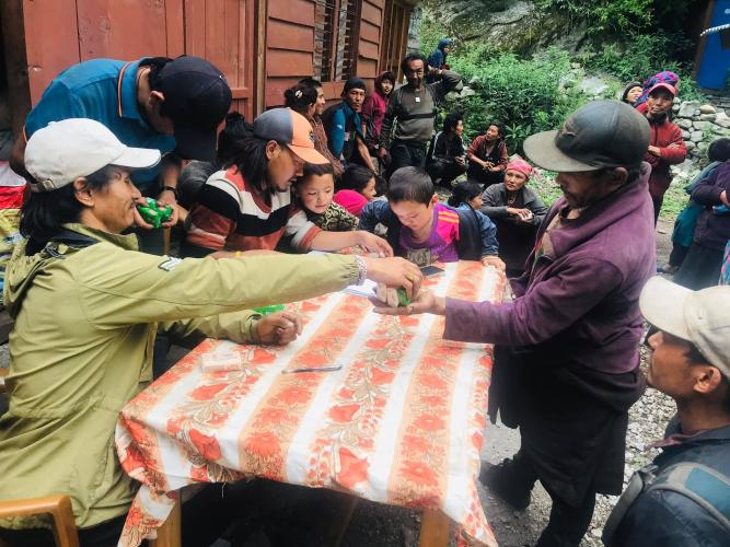 Soap distribution to the villagers of Namrung, Nubri, June 2020. Image by Pema Dhundup. Nepal, 2020.
