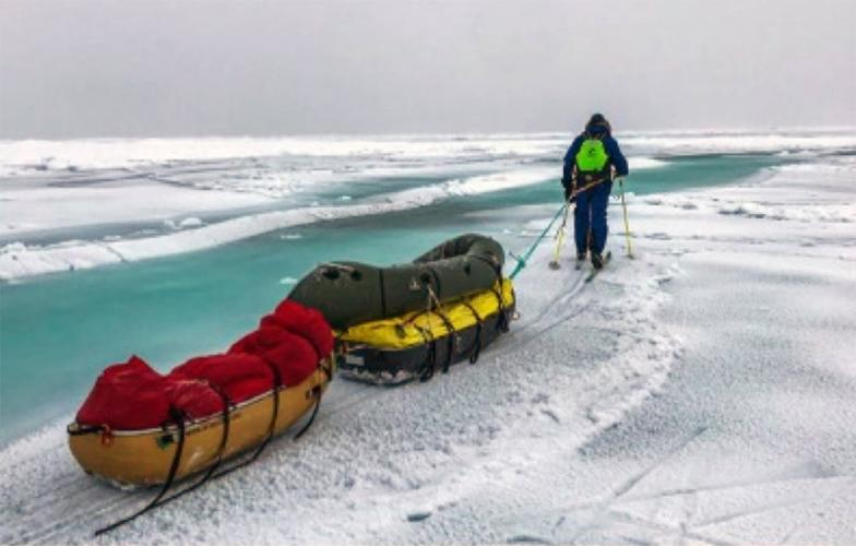 The warming that has caused permafrost to thaw also has reduced the extent and thickness of Arctic sea ice. Explorers Mike Horn and Borge Ousland, who is show here, encountered open water and as they made an epic trek this fall to the North Pole and south toward Norway. Image courtesy of Mike Horn. United States, 2019.
