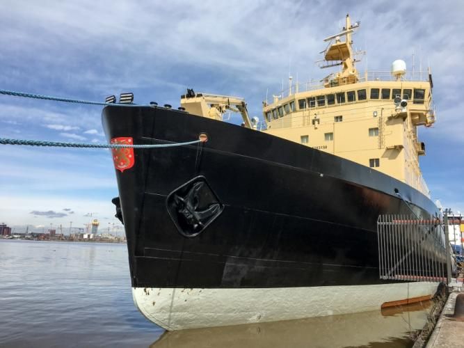 "The icebreaker Polaris in port in Helsinki. ""I'm often asked, 'Well, the ice is melting, who needs icebreakers?'"" says Tero Vauraste, CEO of the state-owned company that owns the ship. But he says icebreakers are actually a growth business as the polar ice becomes less predictable. Image by Amy Martin. Finland, 2018."