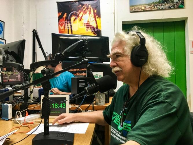 Local resident Robert Rabin on the air with Radio Vieques. Image by Martha Bayne. Puerto Rico, 2019.
