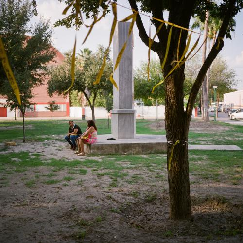 A memorial for those kidnapped is seen in Plaza Palabra. Image by by Christopher Lee. Mexico, 2020.