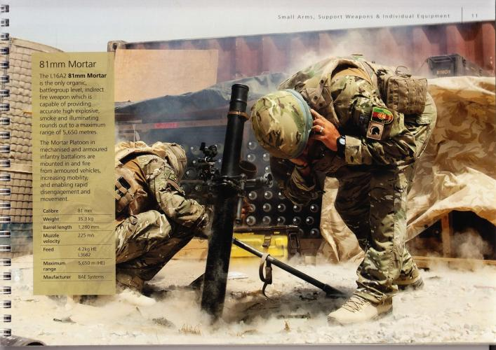 Army Equipment Catalogue advertising BAE Systems Mortar. Image by Matt Kennard. England, 2017.
