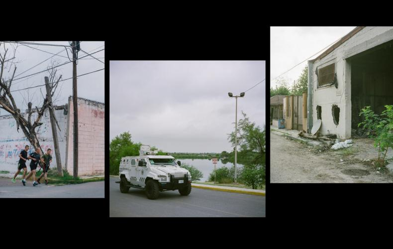 Left: Mexican National Guardsman perform morning exercises in front of a former Mexican Marine base that has since been converted into a Mexican National Guard base near Laguna Laguito. Middle: A Mexican National Guard personnel carrier is seen near Laguna Laguito. Right: A view of a former Mexican Marine base that housed a special forces unit that was accused of committing kidnappings and murders of civilians. Images by by Christopher Lee. Mexico, 2020.