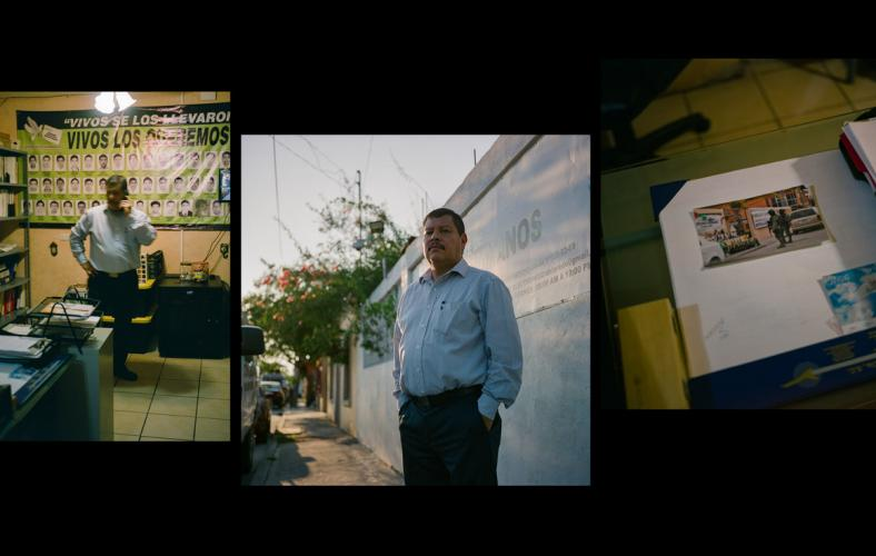 Left and middle: Raymundo Ramos. Right: A photo on Ramos's desk of Mexican Marines looking at an activist installation. Images by by Christopher Lee. Mexico, 2020.