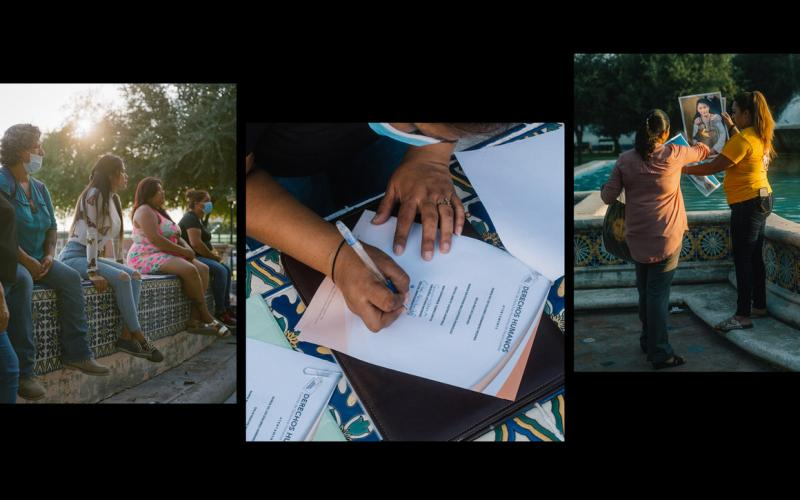Activists are seen in Plaza Palabra during a signing of a document demanding a formal acknowledgement and apology for family members kidnapped by a special forces unit of the Mexican Marines that were trained and armed by the United States Department of Defense, in Nuevo Laredo, Mexico, on September 25, 2020. Image by by Christopher Lee. Mexico, 2020.