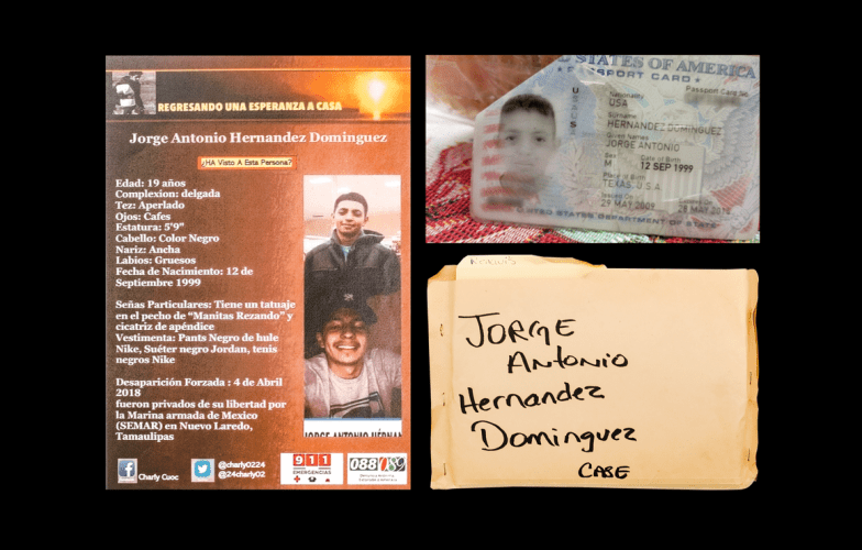 Left: A missing-person poster for Jorge Antonio Dominguez. Top right: Dominguez's U.S. passport card. Bottom right: A case folder of documents kept by Maria Elena Dominguez.