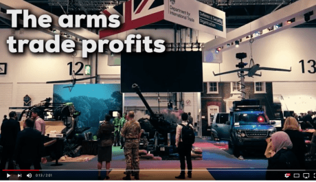 Stop DSEI 2019. Campaign Against the Arms Trade. Image from YouTube, Matt Kennard. United Kingdom, 2017.