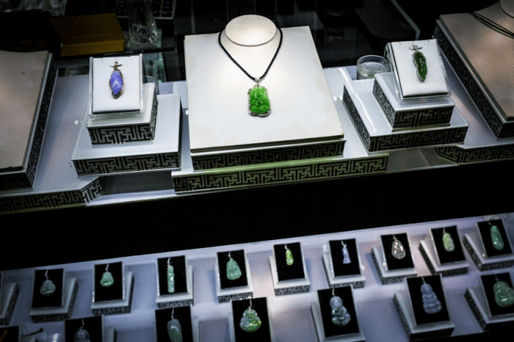 Jade jewelry in a store in downtown Yangon. Image by Hkun Lat. Myanmar, 2018.
