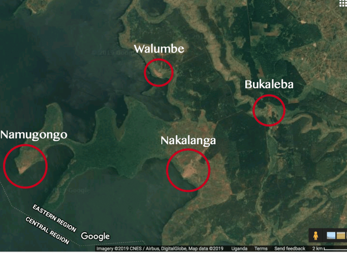 The four villages that exist within Bukaleba Forest Reserve along the shores of Lake Victoria. Source: Google Maps. Image courtesy of InfoNile.