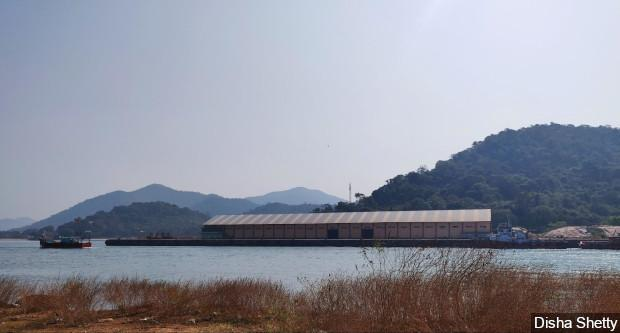 The Karwar port (pictured above) is at the southern end of the narrow beach. Apart from a new cargo terminal, new structures such as breakwaters on the beach and the expansion of roads leading to the port, are proposed to be built. These could severely disturb fishing activity in the area. Image by Disha Shetty / IndiaSpend. India, 2020.