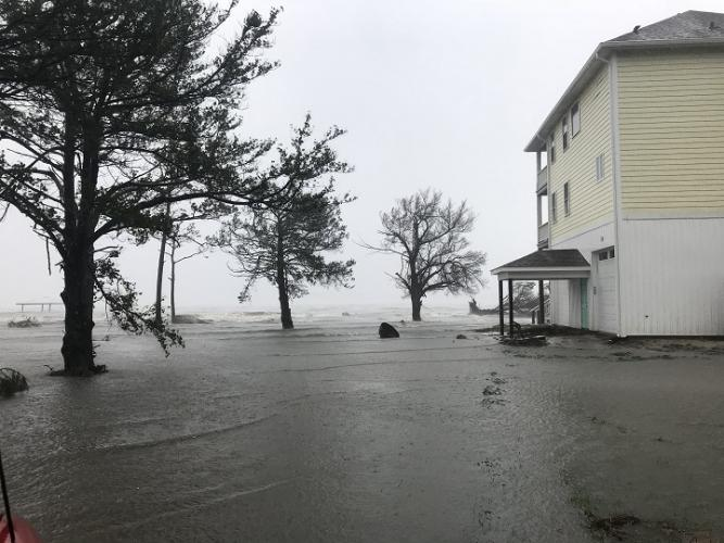 Straits in Down East Carteret County is shown flooded during Hurricane Florence. Image by Lillie Chadwick Miller / Coastal Review Online. United States, undated.