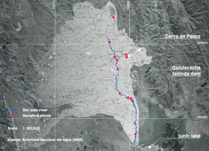 2013 and 2015 studies by Peru's National Water Authority tested water samples along the San Juan river and its tributaries. High levels of heavy metal contamination – including arsenic, lead, and aluminium among others – were found throughout the full length of the sub-basin.