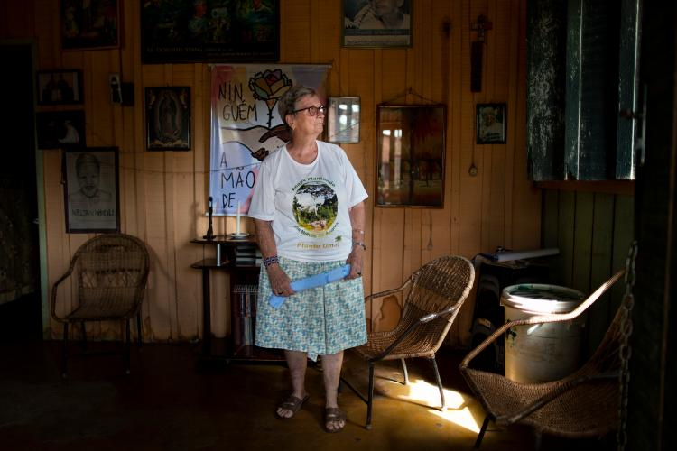 Sister Jane Dwyer stands for a portrait in her home in Anapu. Image by Spenser Heaps. Brazil, 2019.