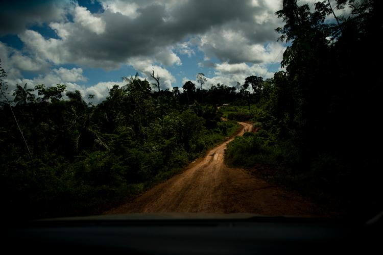 "A dirt road leads through forest that has been infiltrated with so-called ""invaders"" on the way into the Virola Jatoba settlement in Anapu. Image by Spenser Heaps. Brazil, 2019."