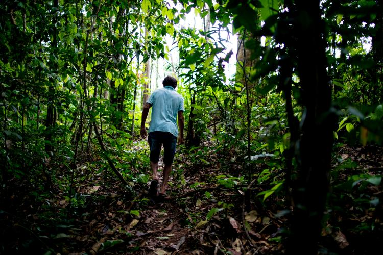 Elias da Silva Lima, 63, walks through the forest between his home and a clearing he farms on the Virola Jatoba settlement in Anapu. Image by Spencer Heaps. Brazil, 2019.