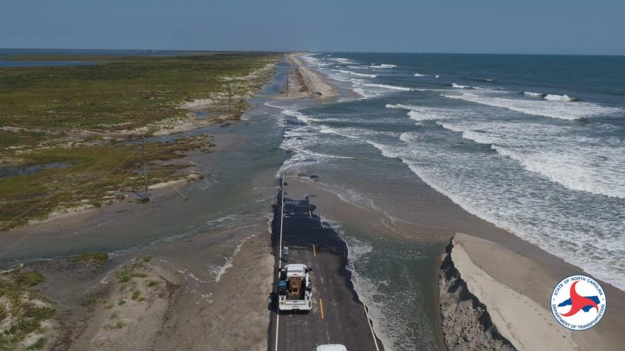 N.C. 12 on Ocracoke Island after Hurricane Dorian in September 2019. Image by NCDOT. United States, undated.