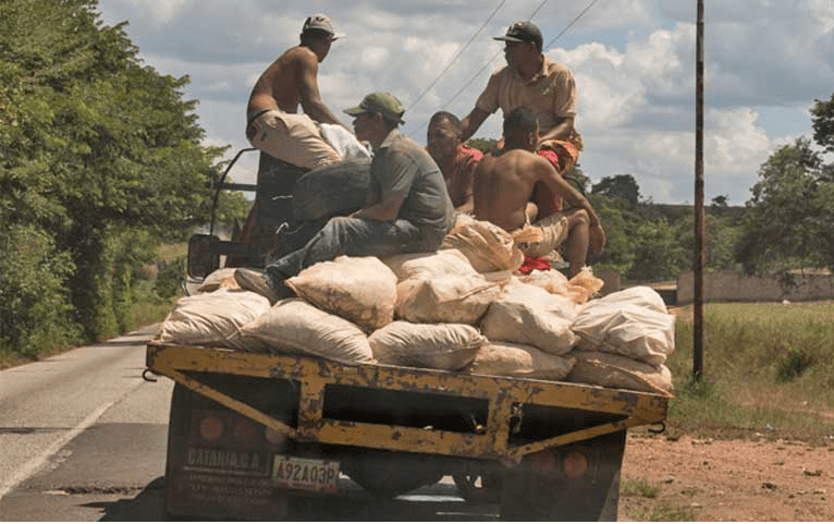 Small-scale miners in Bolívar state transport mineral ore to one of the nearby processing mills. They are rarely well rewarded for their grueling work yet suffer major risks to health and their lives. Image by Bram Ebus. Venezuela, 2017.<br />