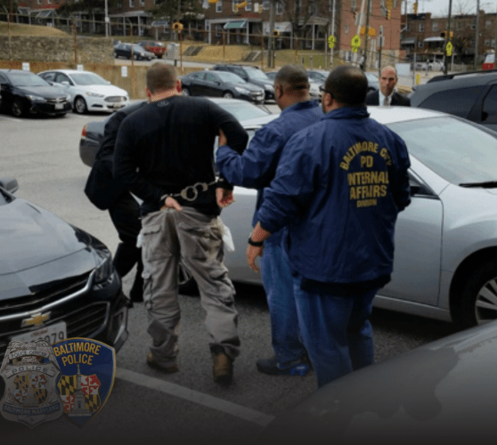 On March 1, 2017, Jenkins and his officers were summoned under a ruse to the internal affairs offices and arrested on federal charges. Baltimore, Maryland. March, 2017. Image by Baltimore Police Department.
