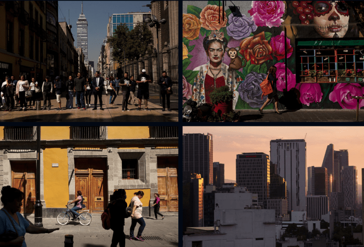 Mexico City's colorful sidewalks bustle with pedestrians and bicyclists. Images by Erika Schultz. Mexico, 2019.