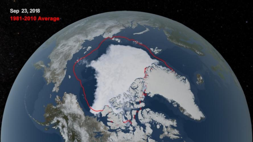 This NASA illustration shows the difference between the average Arctic ice cover at the end of the summer melt season in 1981-2010 and at the same time in 2018. Arctic ice cover varies from season to season and year to year but on average it's declining quickly. Image courtesy of NASA's Goddard Space Flight Center.