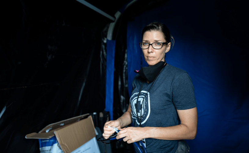 Andrea Leiner at the Matamoros tent camp. Image by Lexie Harrison-Cripps. Mexico, 2020.