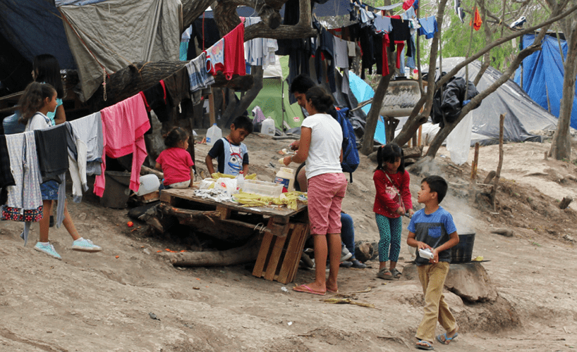 Children at the tent camp in Matamoros in March 2020. Image by Acacia Coronado. Mexico, 2020.