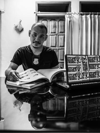 Human trafficking investigator Ruddy Soik. Image by Xyza Bacani. Indonesia, 2018.