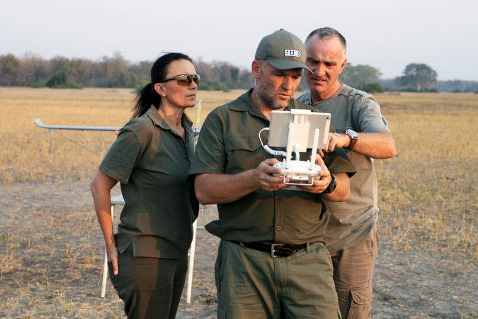 Antoinette Dudley, Stephan De Necker, center, and Otto Werdmuller Von Elgg piloting a drone and viewing its footage live. Such drones could help keep elephants away from park fences, to reduce conflicts with villagers living nearby. Image by Rachel Nuwer. Malawi, 2016.